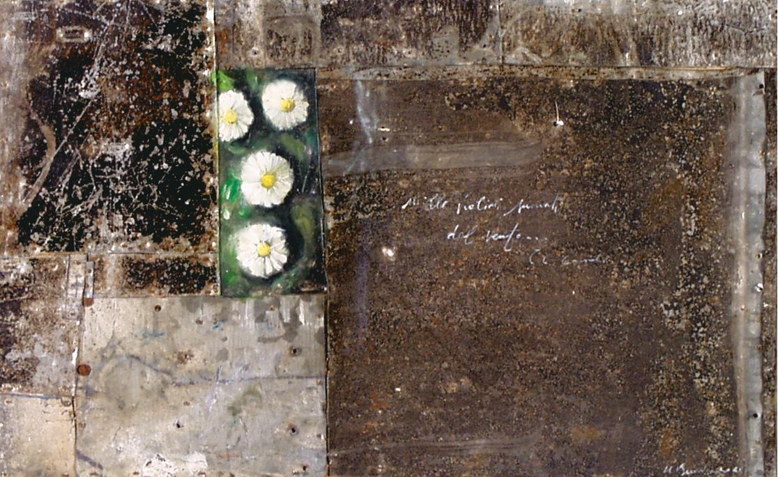 Margherite, olio su lamiera su legno, 20x30 cm, 2000, <br>Collezione Privata