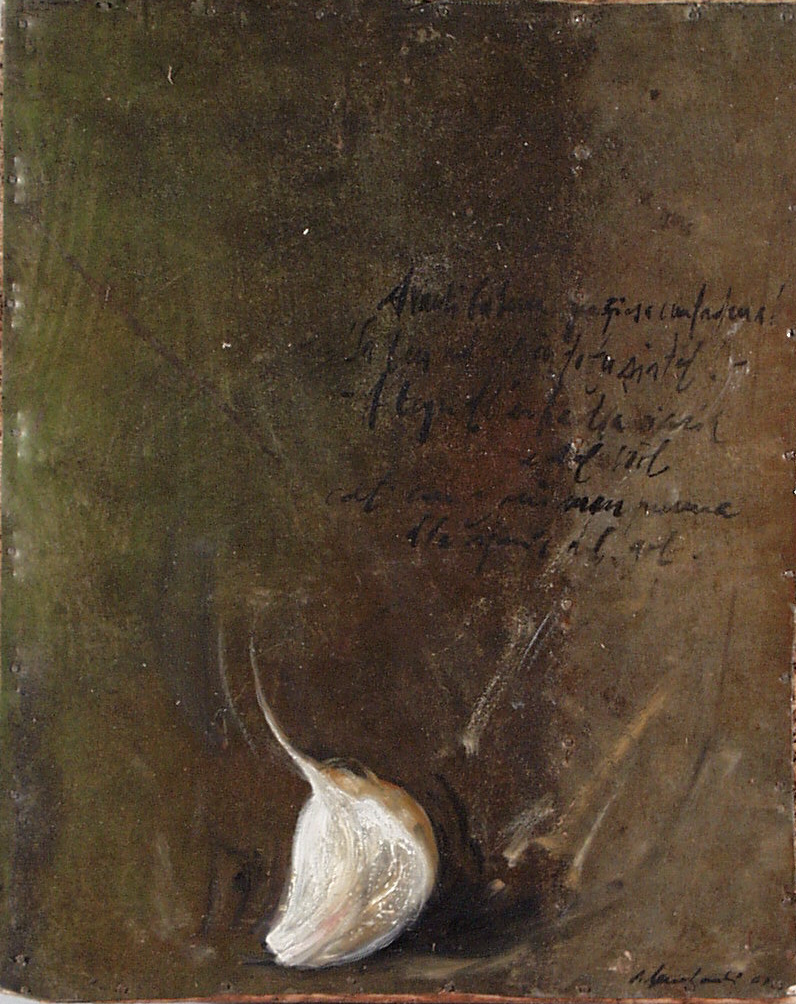 Aglio, olio su lamiera su legno, 30x20 cm, 2000, <br>Collezione Privata