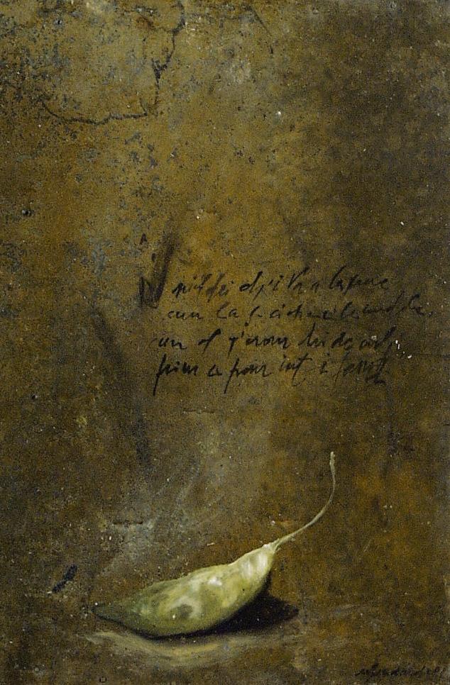 Bacello, olio su lamiera su legno, 30x20 cm, 2000, <br>Collezione Privata