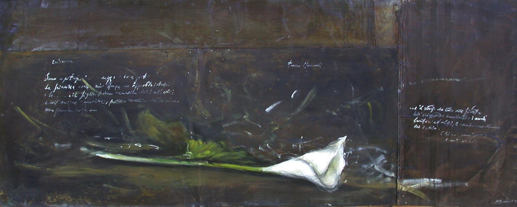 Calla, olio su lamiera su legno, 80x140 cm, 2000, <br>Collezione Privata
