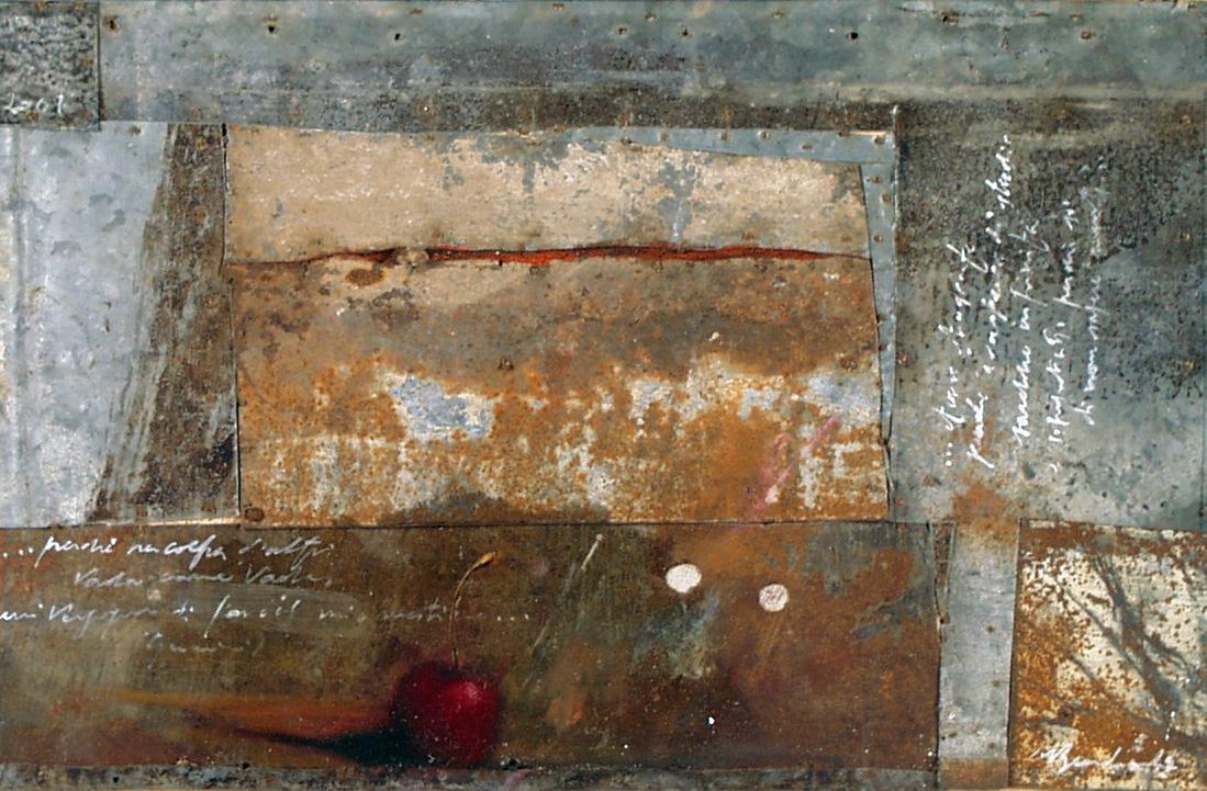 Ciliegia, olio su lamiera su legno, 20x30 cm, 2000, <br>Collezione Privata