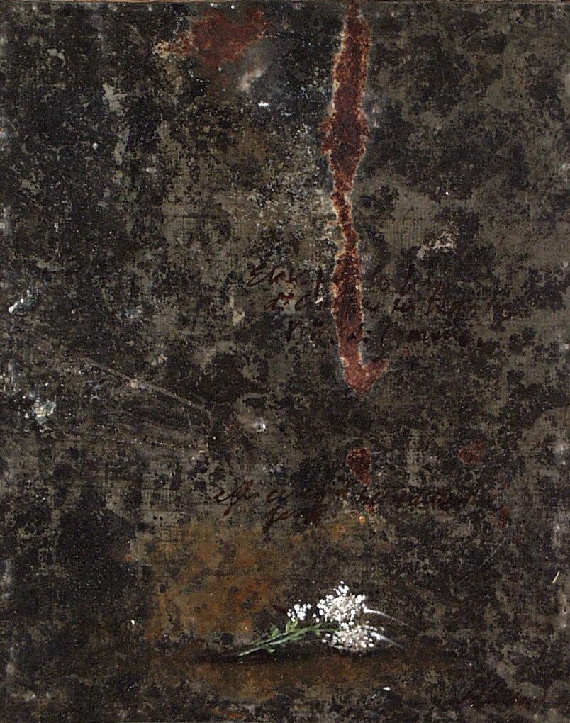 Fiorellini bianchi, olio su lamiera su legno, 30x20 cm, 2000, <br>Collezione Privata
