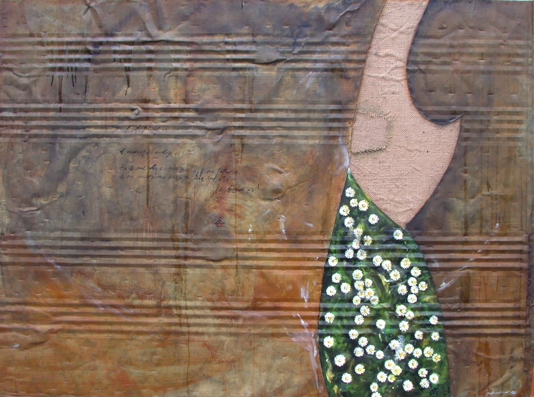 Margherite, olio su lamiera su legno, 120x190 cm, 2000, <br>Collezione Privata