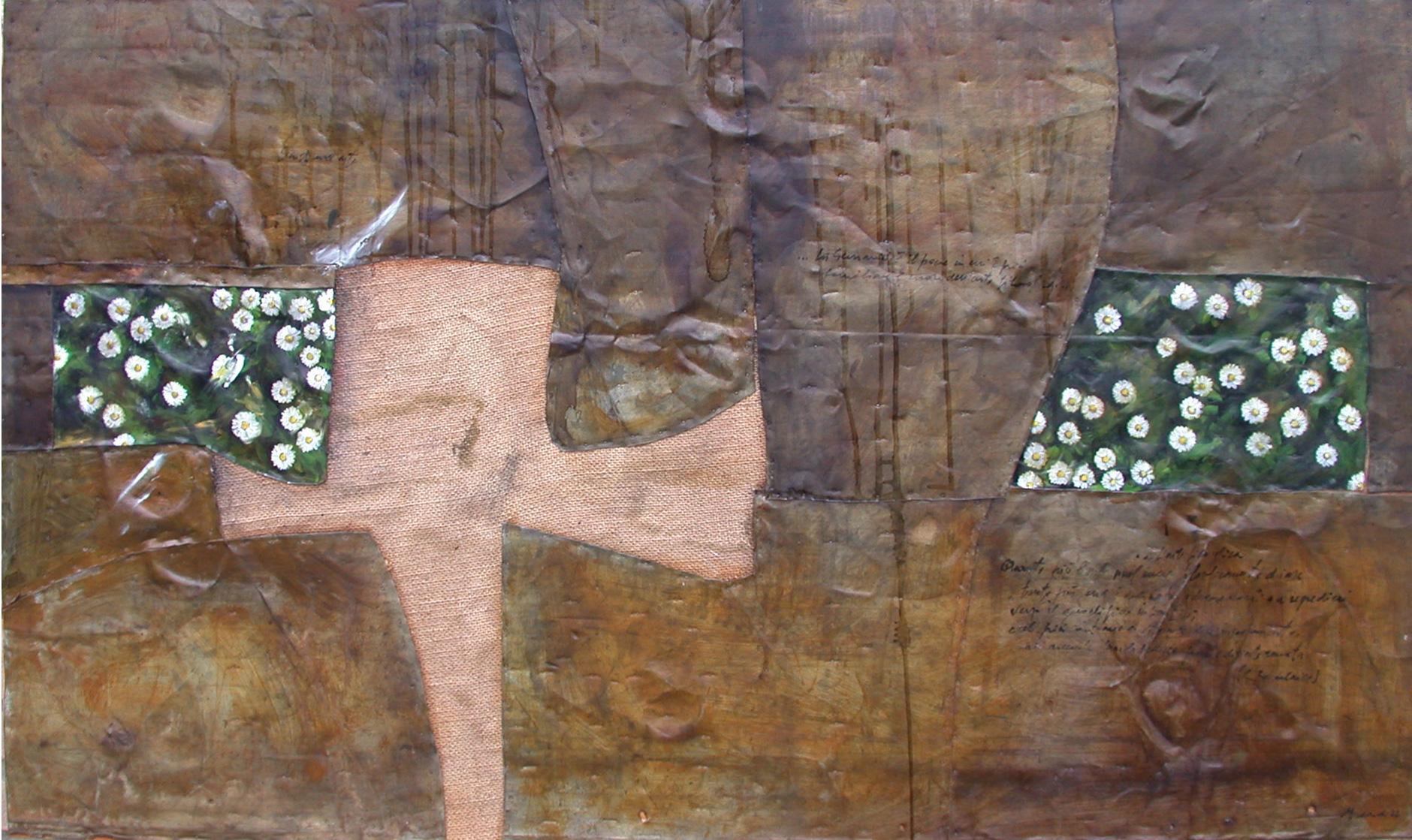 Margherite, olio su lamiera su legno, 100x190 cm, 2000, <br>Collezione Privata