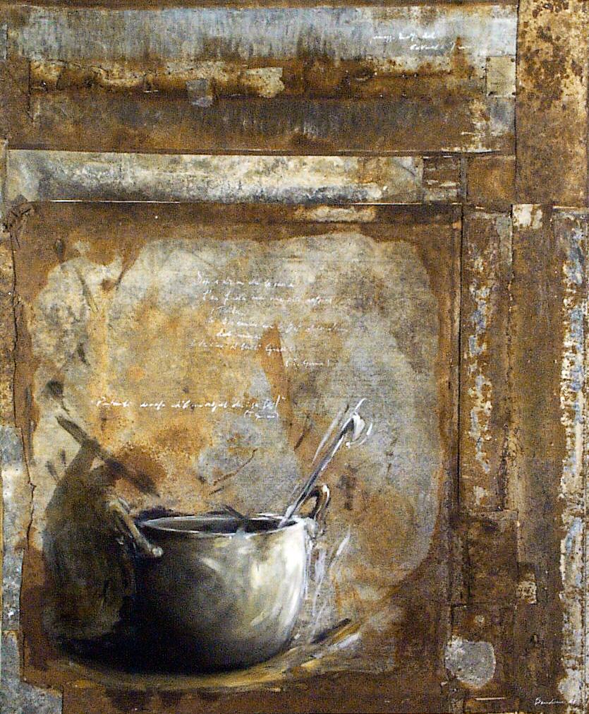 Pignata, olio su lamiera su legno, 170x90 cm, 2000