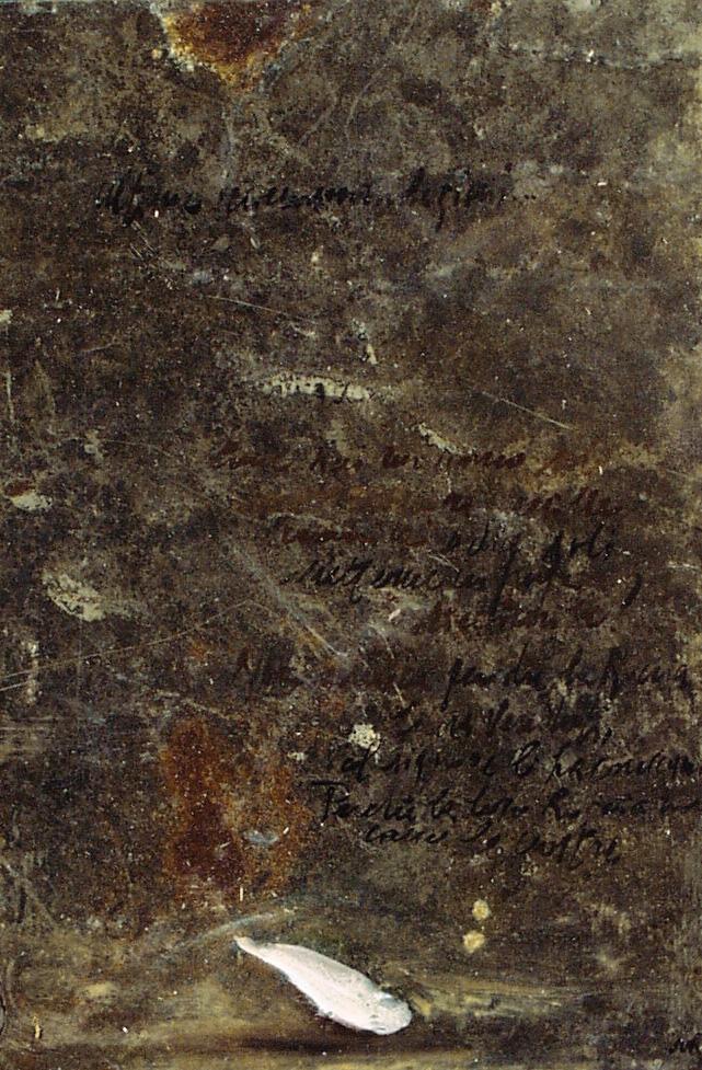 Petalo bianco, olio su lamiera su legno, 30x20 cm, 2000, <br>Collezione Privata