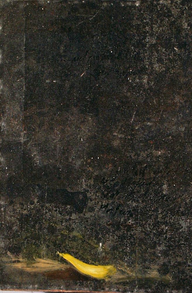 Petalo giallo, olio su lamiera su legno, 30x20 cm, 2000, <br>Collezione Privata