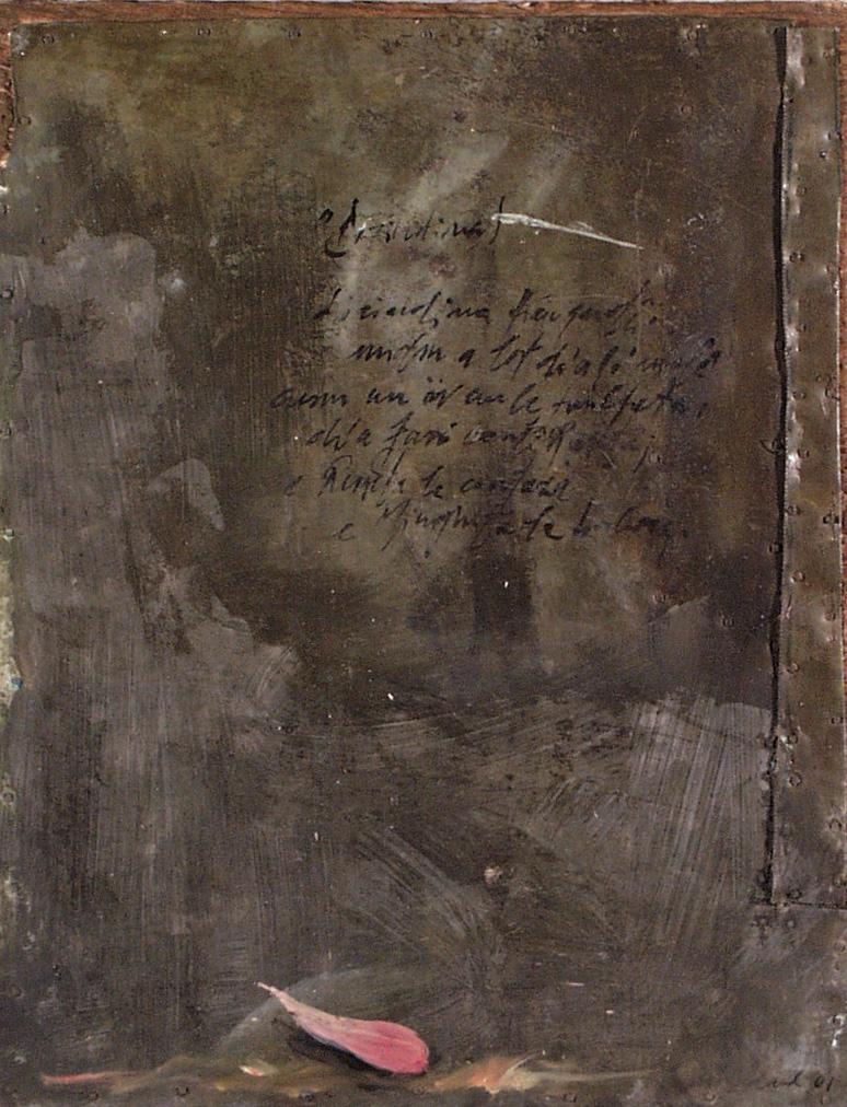 Petalo rosa, olio su lamiera su legno, 30x20 cm, 2000, <br>Collezione Privata
