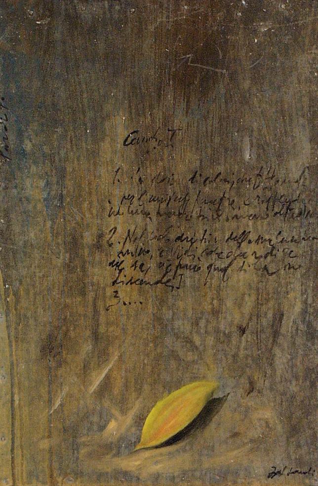 Foglia, olio su lamiera su legno, 30x20 cm, 2000, <br>Collezione Privata
