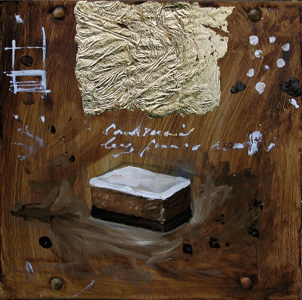 3 strati, olio e tecnica mista su lamiera, 20x20 cm, 2010, <br>Collezione Privata