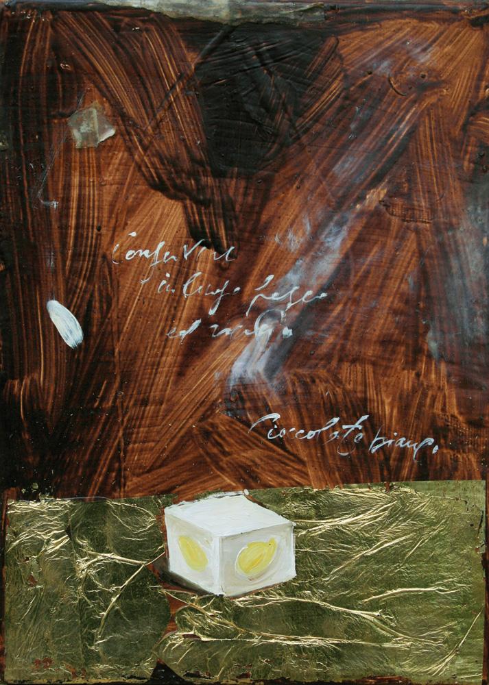Dado al pistacchio, olio e tecnica mista su lamiera, 18x24 cm, 2010, <br>Collezione Privata
