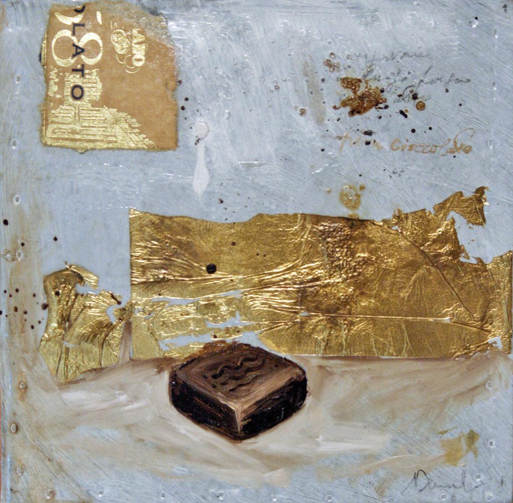 Dolcetto, olio e tecnica mista su lamiera, 20x20 cm, 2010, <br>Collezione Privata
