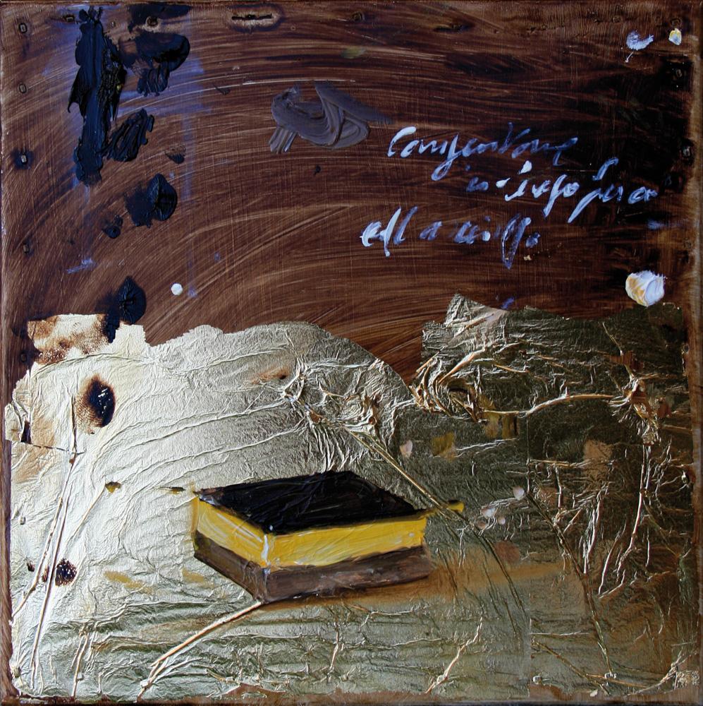 2 strati, olio e tecnica mista su lamiera, 20x20 cm, 2010, <br>Collezione Privata