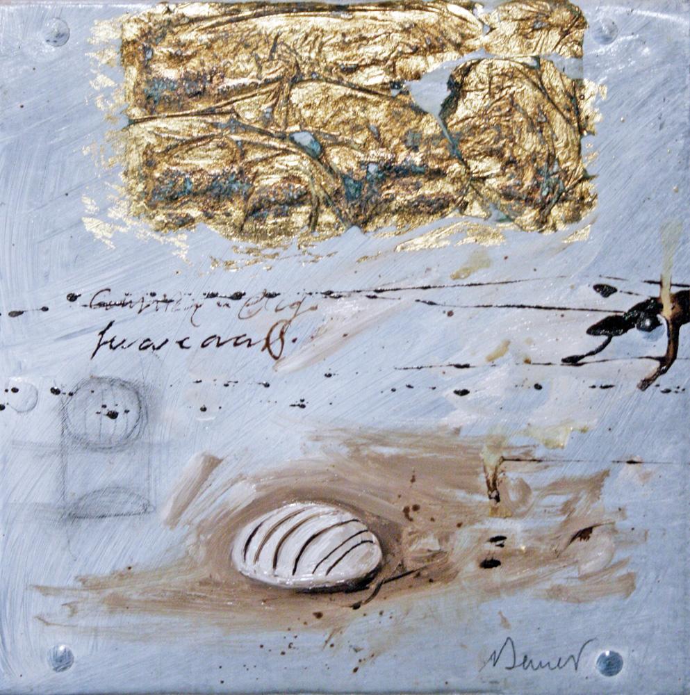 Bianchino, olio e tecnica mista su lamiera, 20x20 cm, 2010, <br>Collezione Privata
