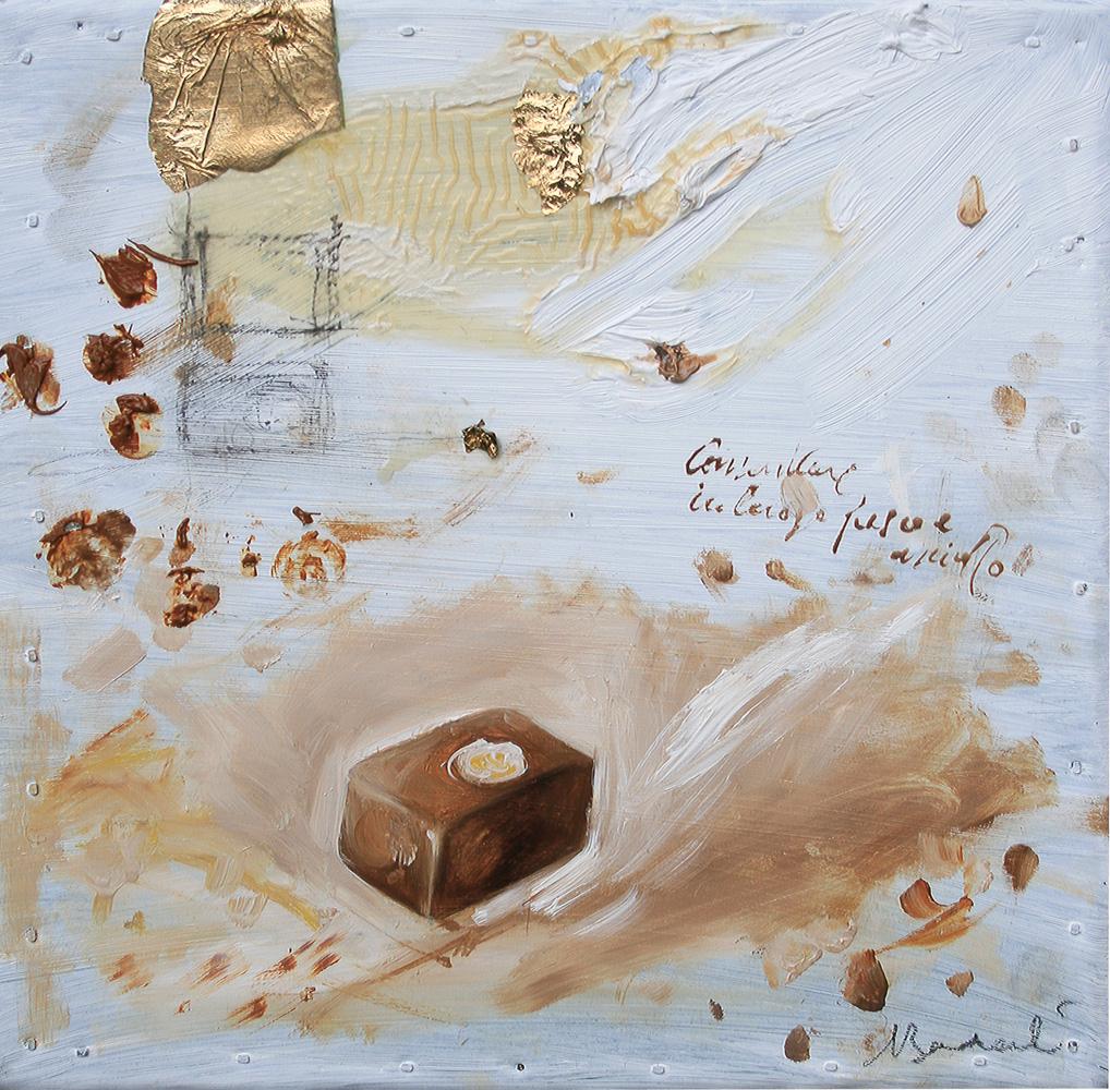 Nocciola, olio e tecnica mista su lamiera, 20x20 cm, 2010, <br>Collezione Privata