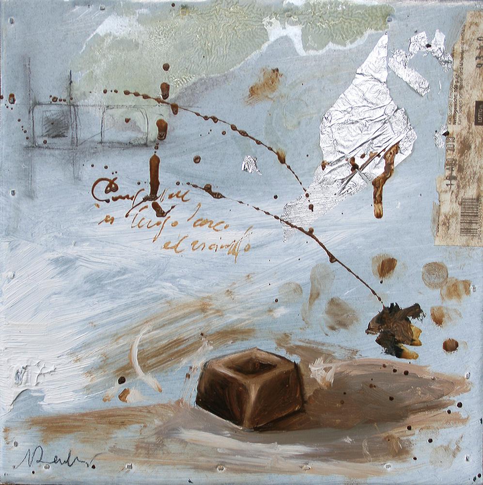 Cioccolatino, olio e tecnica mista su lamiera, 20x20 cm, 2010, <br>Collezione Privata