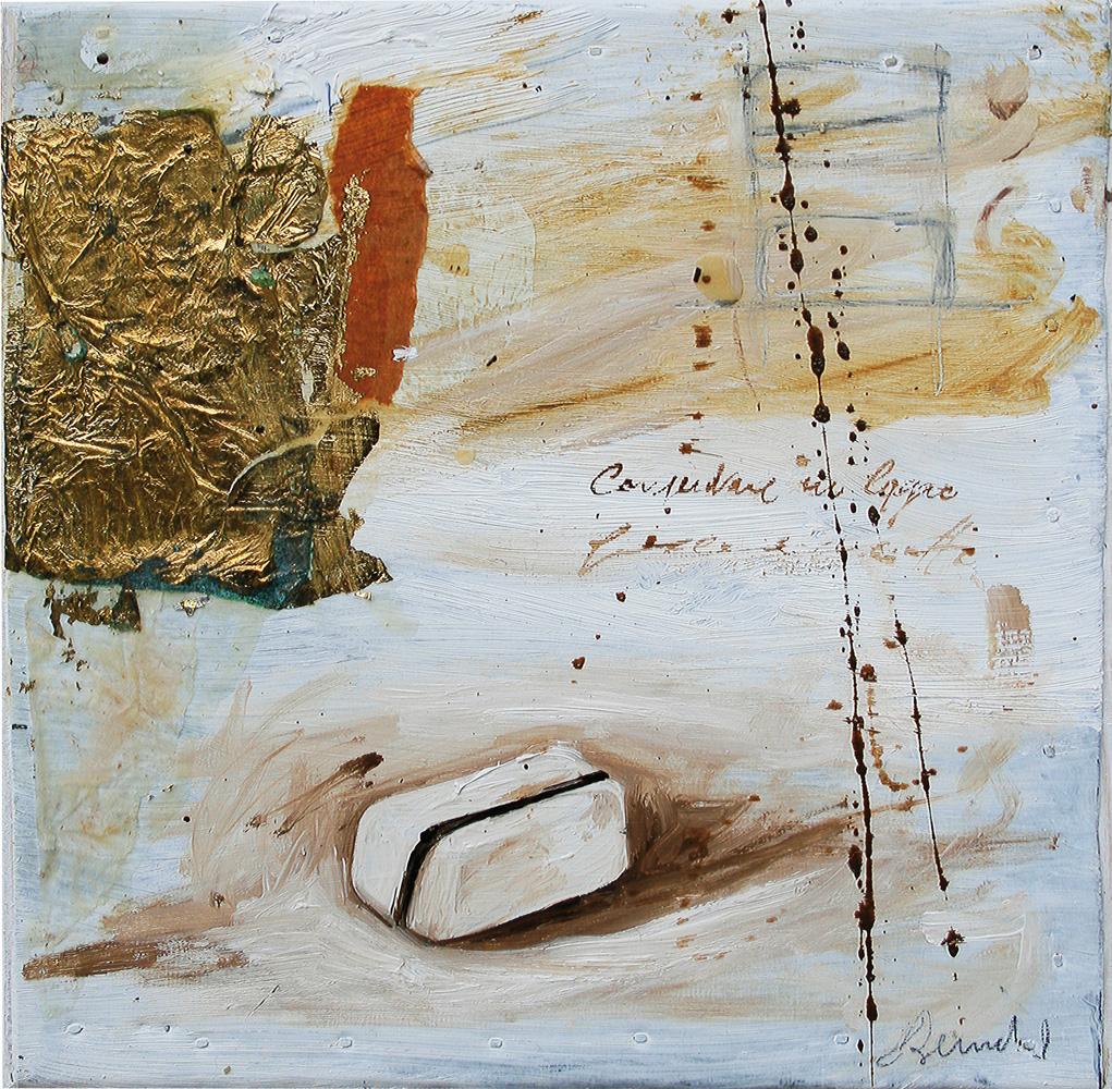 Bianco, olio e tecnica mista su lamiera, 20x20 cm, 2010, <br>Collezione Privata
