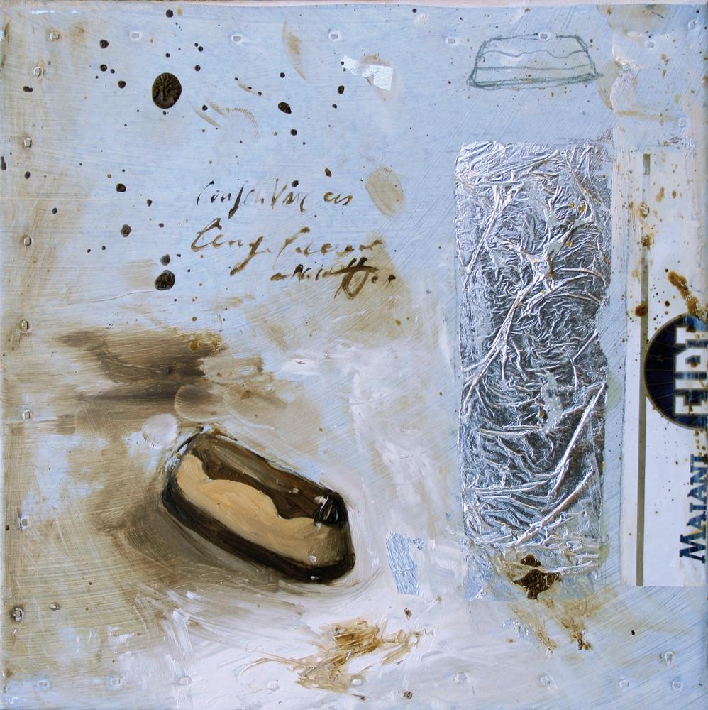 Cremino Gianduia, olio e tecnica mista su lamiera, 20x20 cm, 2010, <br>Collezione Privata