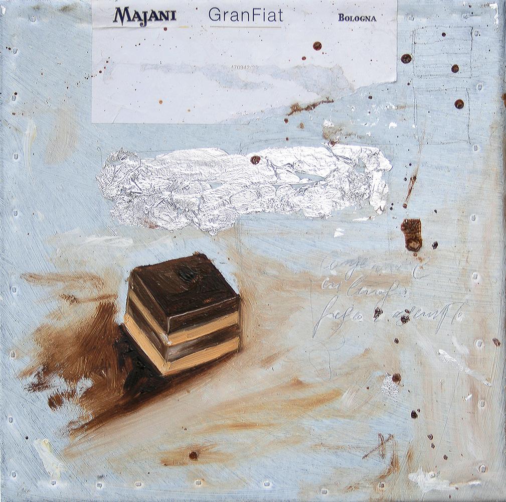 Cremino Majani, olio e tecnica mista su lamiera, 20x20 cm, 2010, <br>Collezione Privata