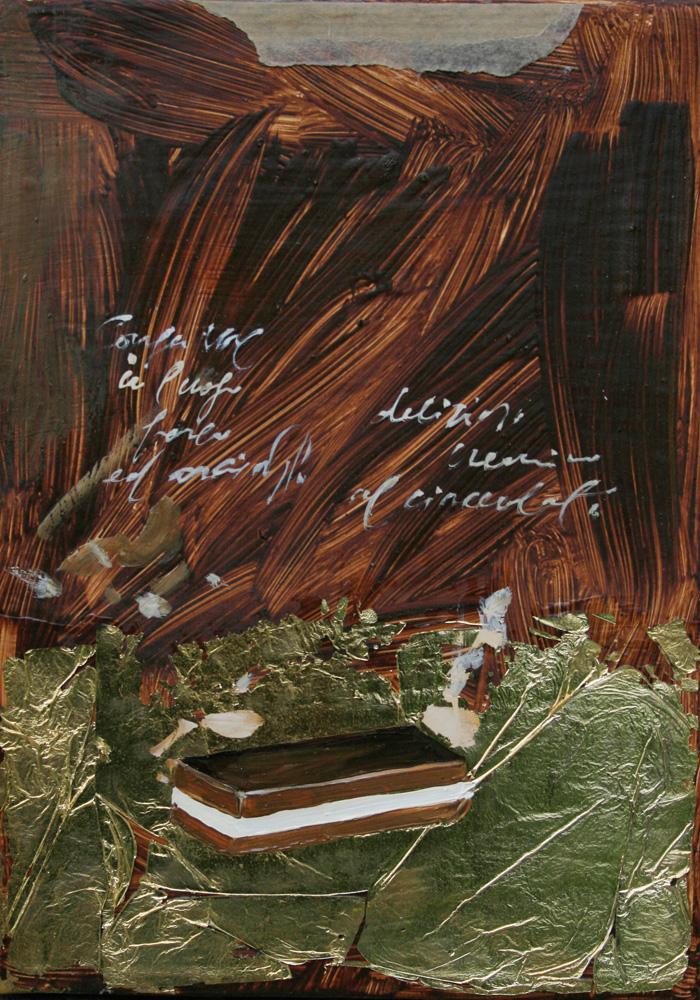 Fetta Cremino, olio e tecnica mista su lamiera, 18x24 cm, 2010, <br>Collezione Privata