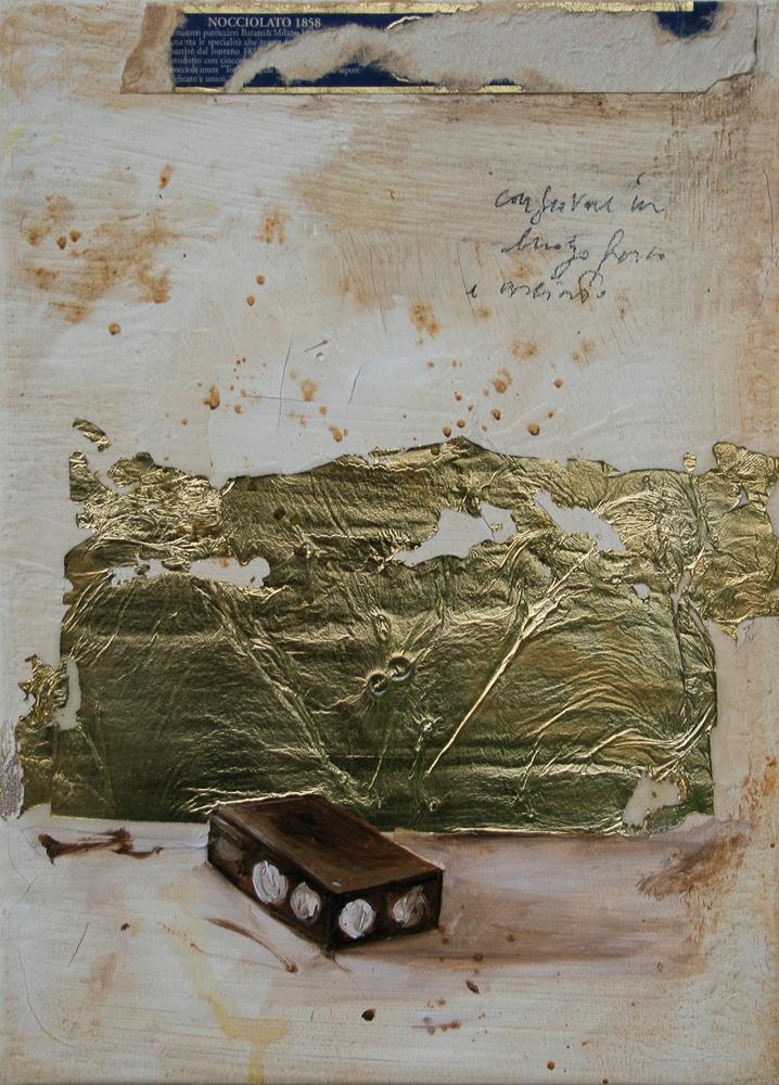 Blocco, olio e tecnica mista su tela, 18x24 cm, 2010, <br>Collezione Privata