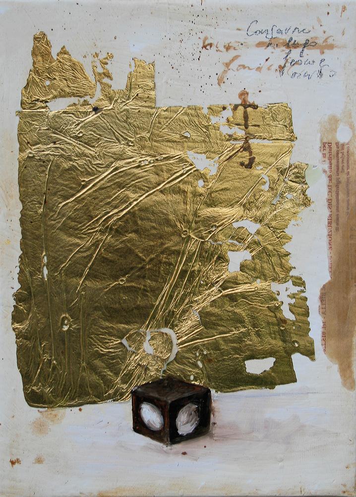 Blocco Cioccolato, olio e tecnica mista su tela, 18x24 cm, 2010, <br>Collezione Privata