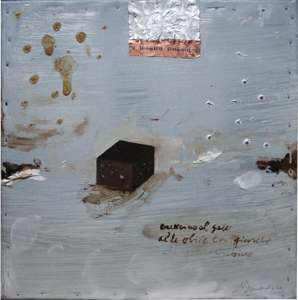 Cremino al sale Gobino, olio e tecnica mista su lamiera, 20x20 cm, 2010, <br>Collezione Privata