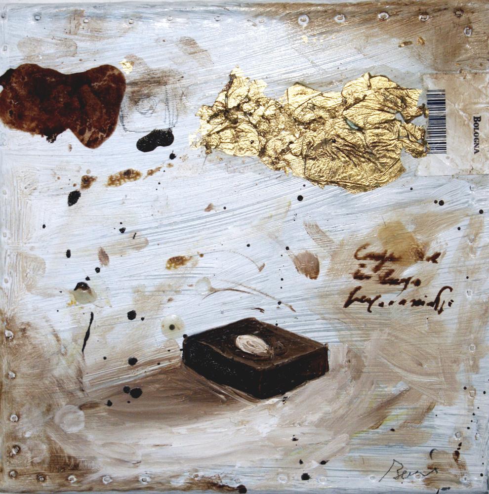 Mandorla, olio e tecnica mista su lamiera, 20x20 cm, 2010, <br>Collezione Privata