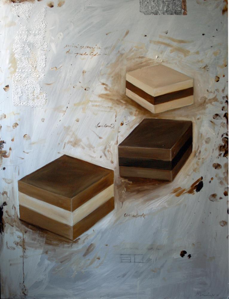 3 cremini, olio e tecnica mista su lamiera, 50x70 cm, 2011, <br>Collezione Privata