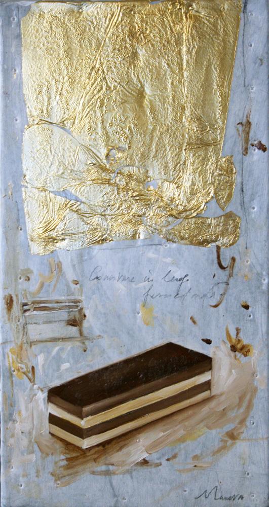3 strati, olio e tecnica mista su lamiera, 20x40 cm, 2010, <br>Collezione Privata