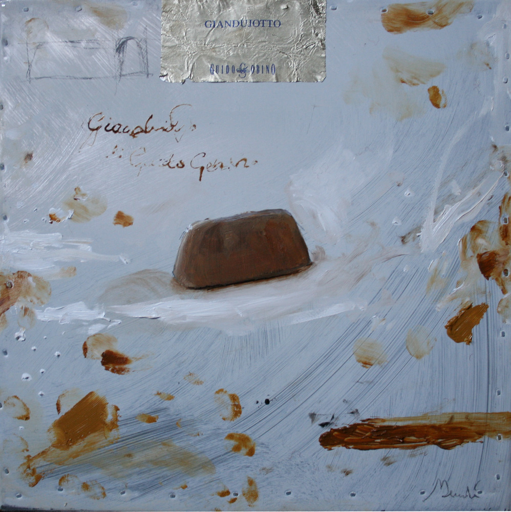 Gianduiotto Gobino, olio e tecnica mista su lamiera, 20x20 cm, 2010, <br>Collezione Privata