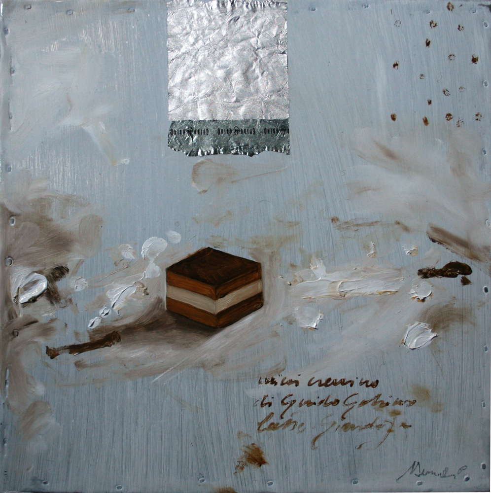 Mini cremino Gobino, olio e tecnica mista su lamiera, 20x20 cm, 2010, <br>Collezione Privata