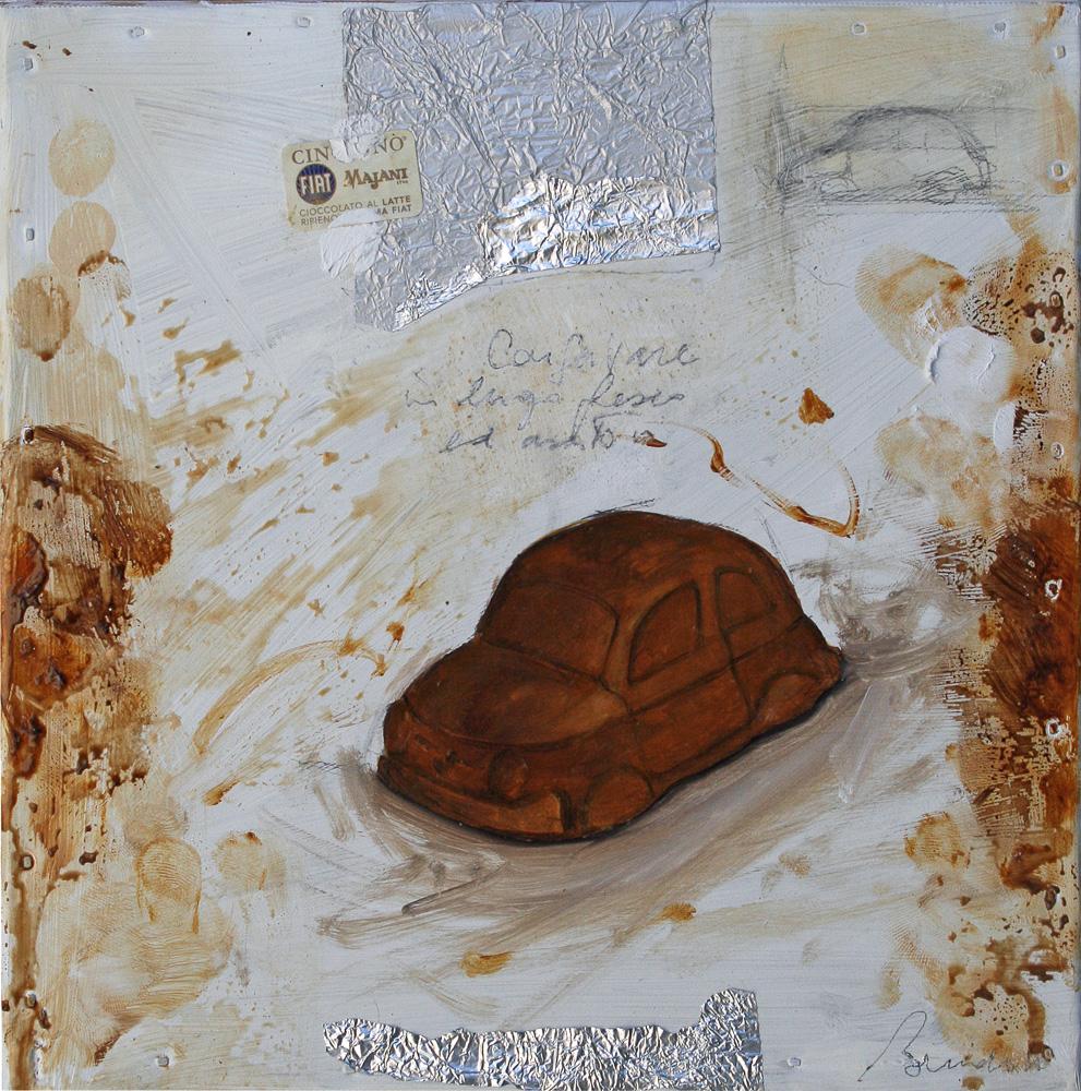 Cinquino, olio e tecnica mista su lamiera, 20x20 cm, 2010, <br>Collezione Privata
