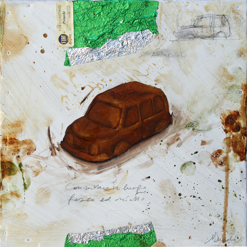 Furgoncino, olio e tecnica mista su lamiera, 20x20 cm, 2010, <br>Collezione Privata