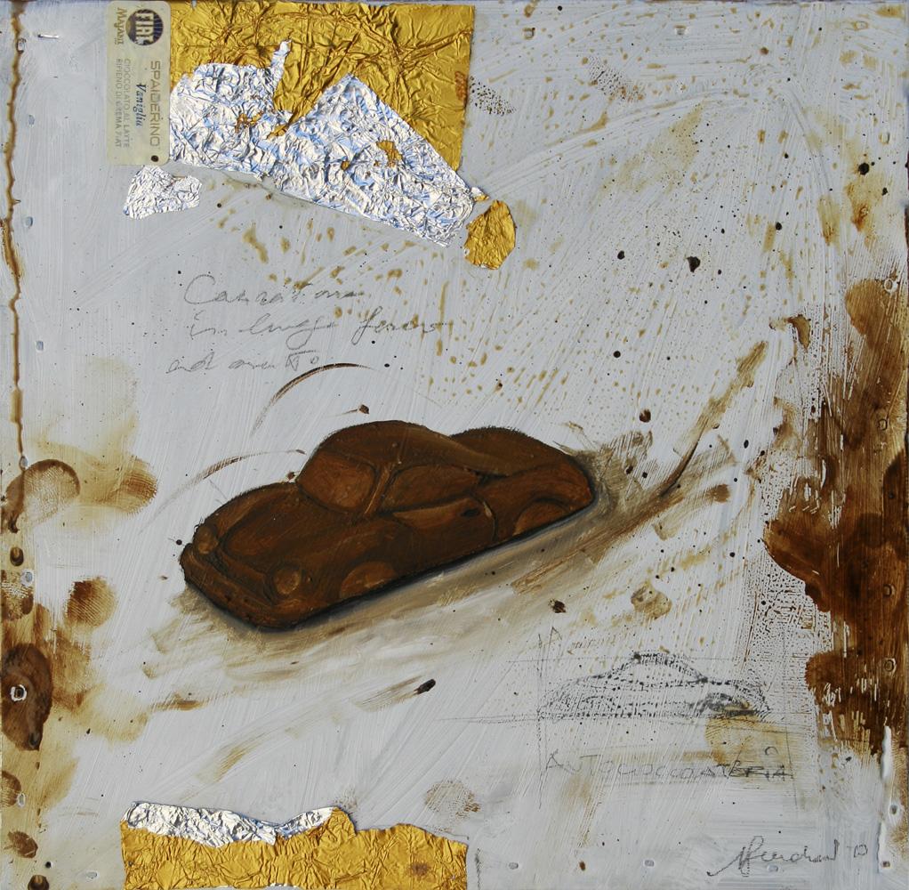 Spiderino, olio e tecnica mista su lamiera, 20x20 cm, 2010, <br>Collezione Privata