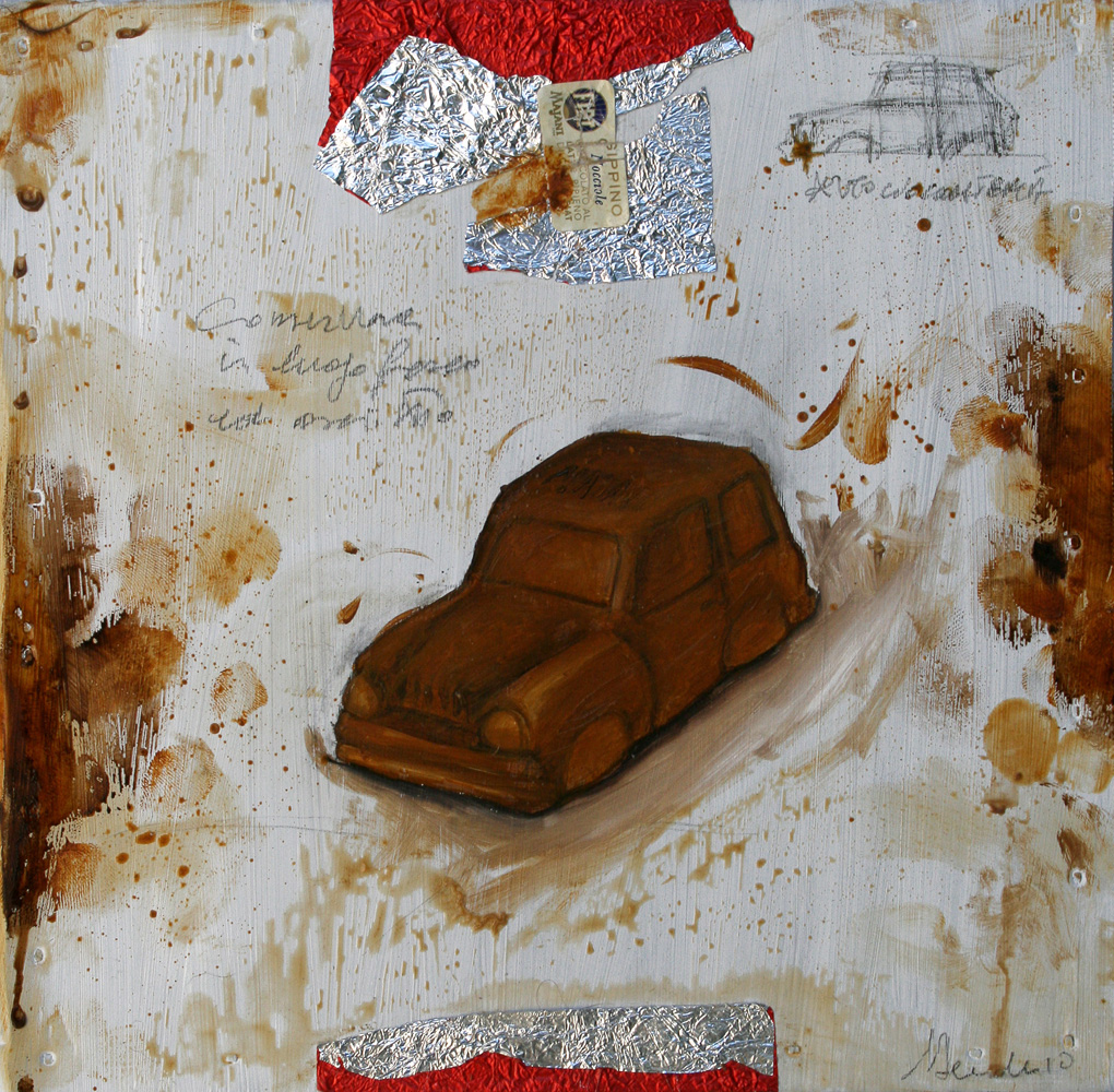 Gippino, olio e tecnica mista su lamiera, 20x20 cm, 2010, <br>Collezione Privata