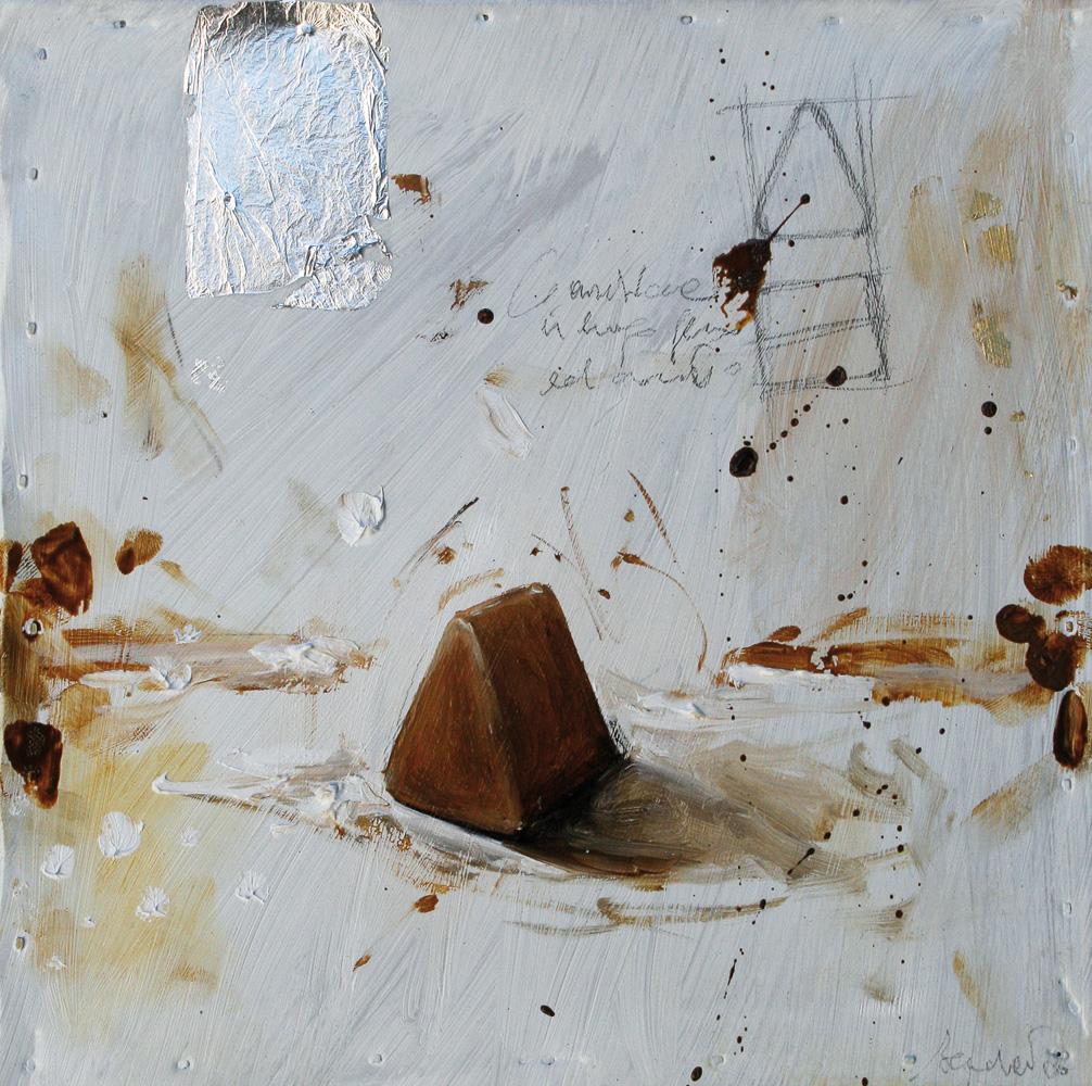 Bolognotto, olio e tecnica mista su lamiera, 20x20 cm, 2010, <br>Collezione Privata