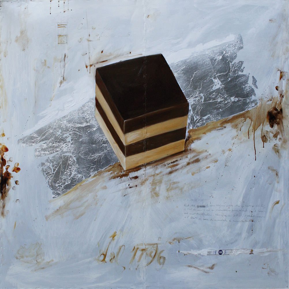 Cremino Majani, olio e tecnica mista su lamiera, 100x100 cm, 2011.