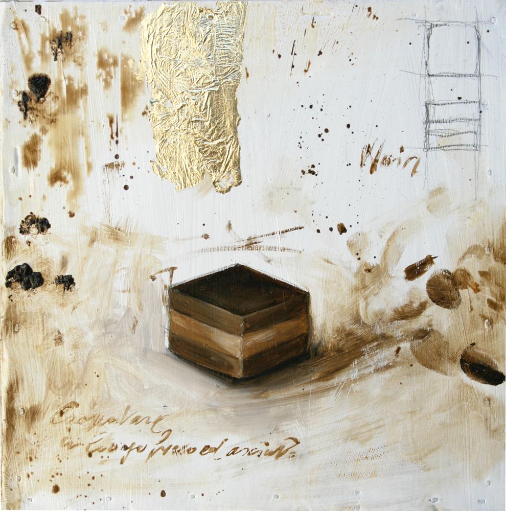 Cremino dark, olio e tecnica mista su lamiera, 20x20 cm, 2010, <br>Collezione Privata