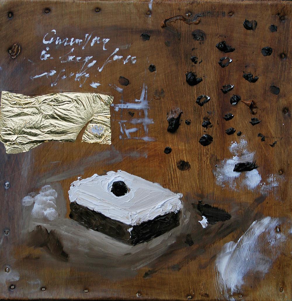 Delizia, olio e tecnica mista su lamiera, 20x20 cm, 2010, <br>Collezione Privata