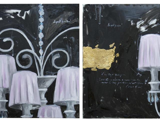Venezia Nero, olio e foglia argento su lamiera, 40x40 cm. (cadauno) 2008 - Proprietà privata