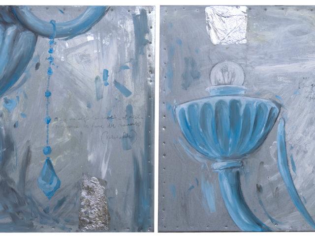 Venezia Azzurro, olio e foglia argento su lamiera, 40x40 cm. (cadauno) 2008 - Proprietà privata