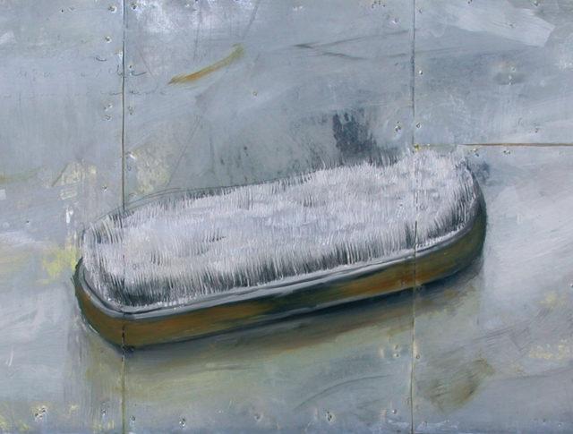 Spazzola, olio su lamiera, 32x65 cm. 2005 - Collezione Privata