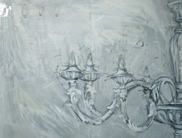 Al n.21, olio e foglia d'argento su lamiera, 100x100 cm. 2010