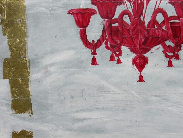 Lampadario rosso, olio e foglia d'oro su lamiera, 100x160 cm. 2007 - Collezione Privata Ravenna