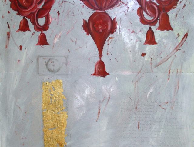Lampadario rosso, olio e foglia d'oro su lamiera, 100x100 cm. 2006
