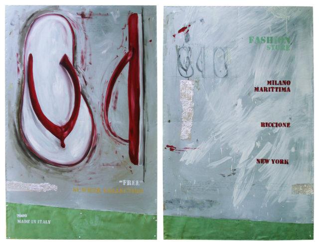 Intramontabili (dittico), olio su lamiera, 160x222 cm. 2006