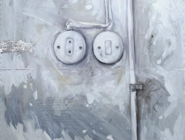 Elettrici, olio foglia argento su lamiera, 80x80 cm. 2008 - Collezione Privata Ravenna
