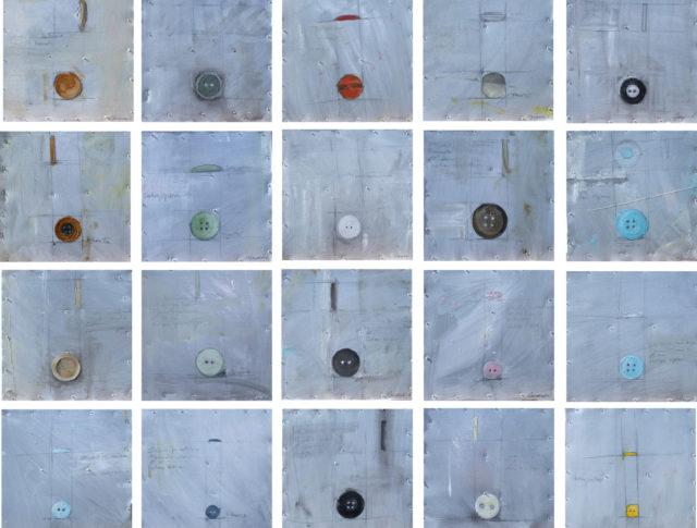 Bottoni (allestimento), olio su lamiera, 92x92 cm. 2006 - Collezione Privata