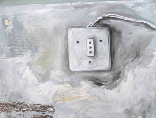 Presa, olio e foglia argento su lamiera, 80x80 cm. 2008 - Collezione Privata Ravenna